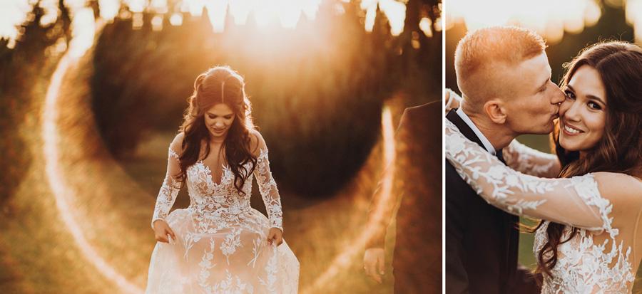 romantyczny zachód słońca na weselu